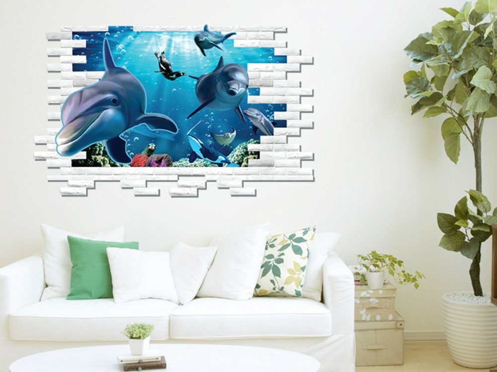Amazon.com: Fange DIY Removable 3D Underwater World Dolphin Art Mural Vinyl  Waterproof Wall Stickers Living Room Decor Bedroom Decal Sticker Wallpaper  ... Part 94