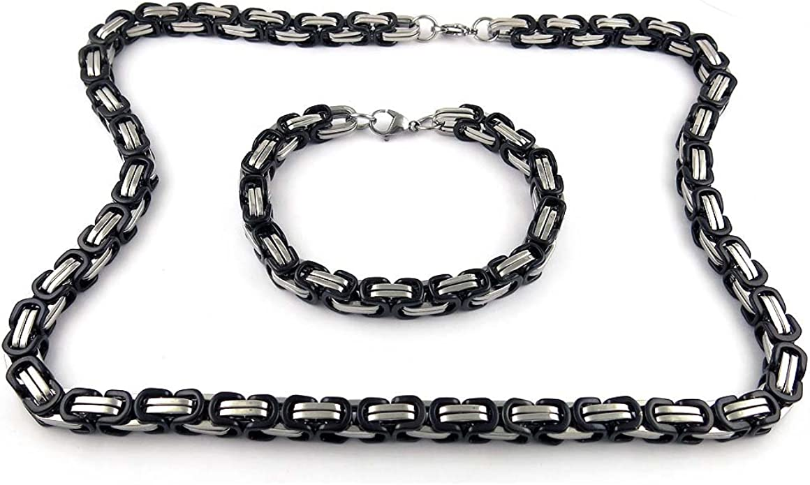 "24/""MEN Stainless Steel 4mm Silver Byzantine Box Link Chain Necklace Bracelet SET"
