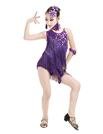 aa906f42dd5 Amazon.com  BESBOMIG Kids Party Performance Latin Dance Dress Girl Sequin  Fringe Dancer Dress  Clothing