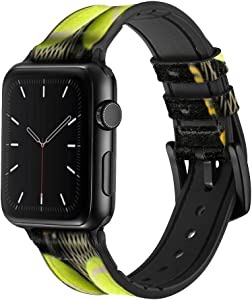 CA0008 Tennis Leather & Silicone Smart Watch Band Strap for Apple Watch iWatch Size 38mm/40mm