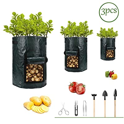 Potato-Grow-Bags, Garden Vegetable Planter with Handles&Access Flap for Vegetables, Tomato, Carrot, Onion, Fruits, Potatoes-Growing-Containers, Ventilated Plants Planting Bag(3 Pack) (10 gallons + 7 Tools) : Garden & Outdoor