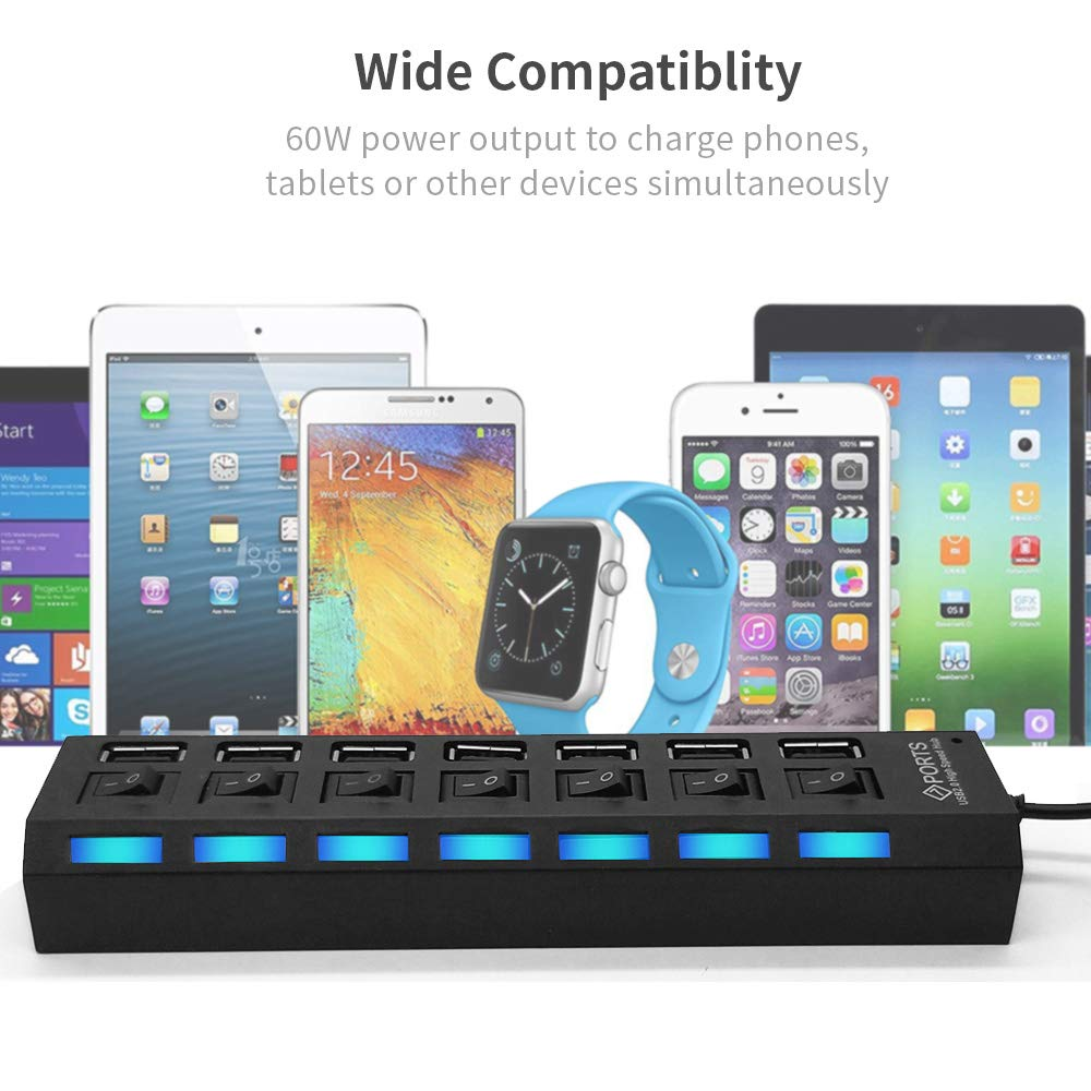 Multi Port USB Splitter 7-Ports USB 2.0 Hub High Speed ON//Off Sharing Switch with LEDs Compatible for All USB Device