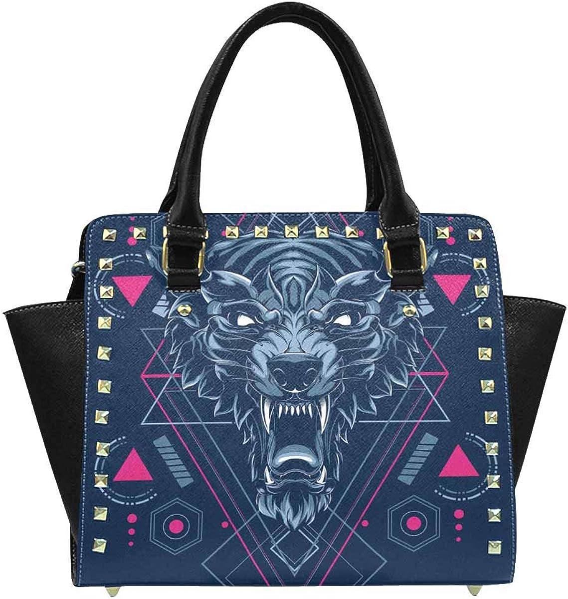 INTERESTPRINT Wolf Sacred Geometry Rive Shoulder Bags Satchel Handbags for Women Fashion Ladies