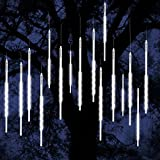 ohCome [New Version] Meteor Shower Rain Drop Lights 50cm 10 Spiral Tubes 540 LEDs Waterproof Icicle Snowfall String Lights for Wedding Christmas Xmas Halloween Garden Tree Home Decor (White)
