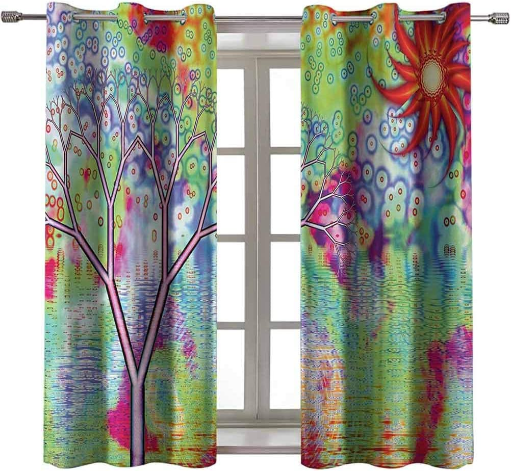 Opehodecor Psychedelic Kids Blackout Curtains Digital Fractal Landscape by Lake Tree Abstract Artistic Surreal Illustration Blackout Curtains for Bedroom 63 x 72 inch