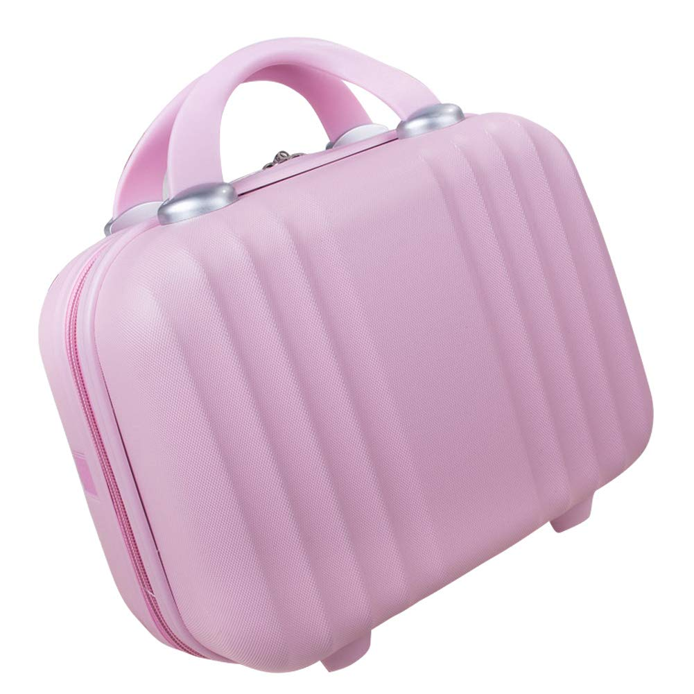 Lzttyee Mini Hard Shell Polychrome Cosmetic Case Luggage, Small Travel Portable Carrying Case Suitcase for Makeup (Pink)