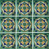 "Color y Tradicion 9 Mexican Tiles 4"" x 4"" Hand Painted Talavera C248"