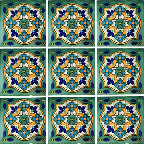 Color y Tradicion 9 Mexican Tiles 4 x 4 Hand Painted Talavera C248