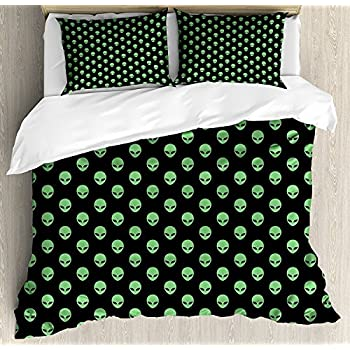 Image of Funy Decor Alien Bedding Set,Supernatural Martians Fantastical Beings from Other Planets Head of an Alien,4 Piece Duvet Cover Set Bedspread for Childrens/Kids/Teens/Adults,Fern Green Black Full Size Home and Kitchen