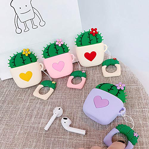 UR Sunshine AirPods Case, Super Lovely Creative Plant Flower Cactus Shape Soft Silicone Case Cover Protective Skin for AirPods+Ring Lanyard-Pink Heart Cactus