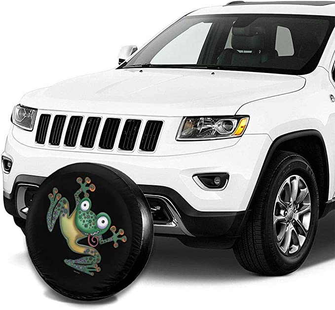 Vbnbvn Reserveradabdeckung Frog Polyester Universal Dust-Proof Corrosion Protection Wheel Covers for Jeep Trailer RV SUV Truck and Many Vehicles 14 15 16 17