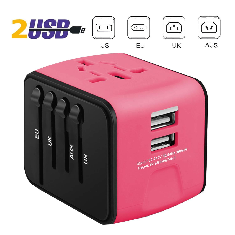 iVoler Adaptateur de Voyage avec 2 USB Adaptateur Universel Pris de Courant pour UE//US//UK//AUS Utilis/é dans Plus de 150 Pays Adaptateur Chargeur Garantie /à Vie Jaune