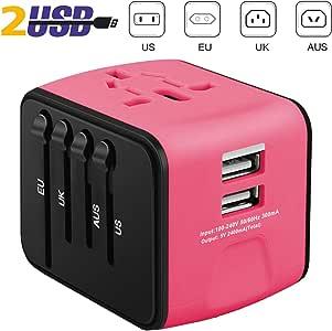 ivoler Adaptador Enchufe de Viaje Universal Cargador Internacional con MAX 2.4A Dos Puertos USB y Seguridad de Fusibles para US EU UK AU Japon Asia África Más de 150 Países (Rosa Oscuro):