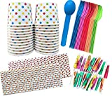 Outside the Box Papers Ice Cream Sundae Kit - Polka Dot Paper Cups, Plastic Spoons, Polka Dot Paper Straws, Paper Umbrellas 24 of Cups, Spoons, Umbrellas - 25 Straws Blue, Pink, Orange, Yellow, Green