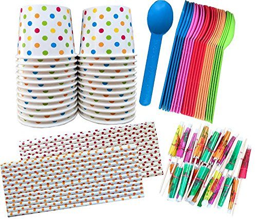 - 12 Ounce Polka Dot Paper Treat Cups -Heavyweight Plastic Spoons - Paper Straws - Paper Umbrellas - 24 Each - Blue, Pink, Orange, Yellow, Green (Ice Cream Sundae Party)