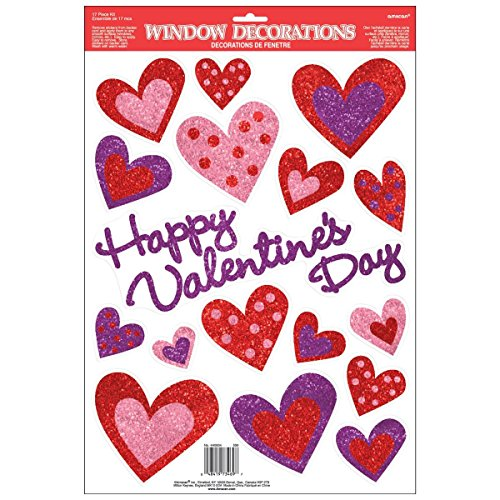 Valentine Window - Amscan Blushing Valentine's Day Glitter Heart Window Party Decoration, Multicolor, 18