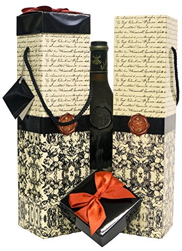 Wine Gift Box x2 - Reusable Caddy - Easy to Assemble - No Glue Required - Gift Tag and Ribbon Included - Florence Design - Medoc Collection - EZ Wine Gift Box By Endless Art US