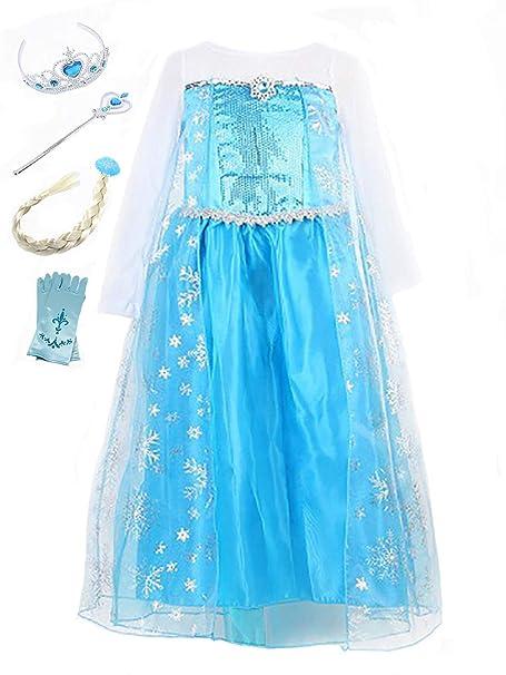 YOSICIL Vestido de Princesa Elsa Fancy Dress Nina Lentejuela Traje Parte Las Niñas Princesa Cosplay para Halloween Carnaval Disfraz Azul Vestido de ...