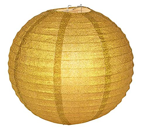 Quasimoon 12 gold glitter round paper lantern hanging decoration quasimoon 12quot gold glitter round paper lantern hanging decoration by paperlanternstore aloadofball Image collections