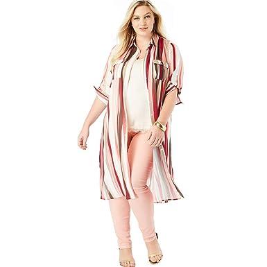 4dd15210959 Roamans Women s Plus Size Button-Front Ultra Tunic at Amazon Women s  Clothing store