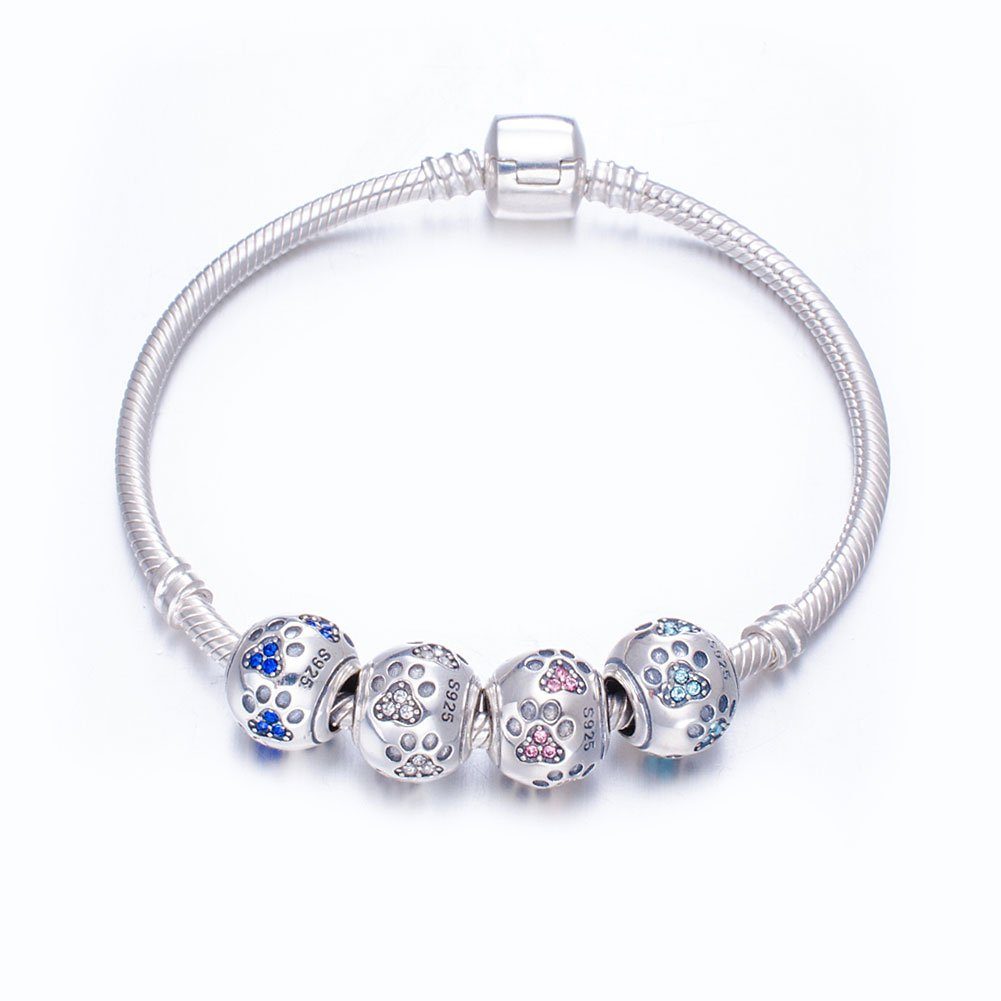 ENJOOOY Sterling Silver Dog Paw Print Charm Beads with Cubic Zirconia Crystals fit Pandora Style Beaded Bracelets for Pet Lovers by ENJOOOY (Image #4)