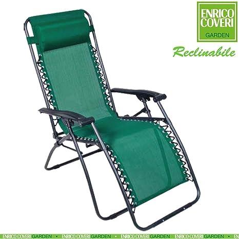 Sedia A Sdraio Con Poggiapiedi.Sedia Sdraio Relax Reclinabile Con Poggiapiedi Struttura Acciaio Telo In Textilene Verde Enrico Coveri