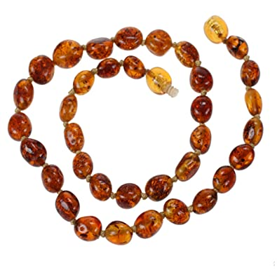 Amazon baltic amber teething necklace for baby by amber beata baltic amber teething necklace for baby by amber beata cognac honey olive shape mozeypictures Images