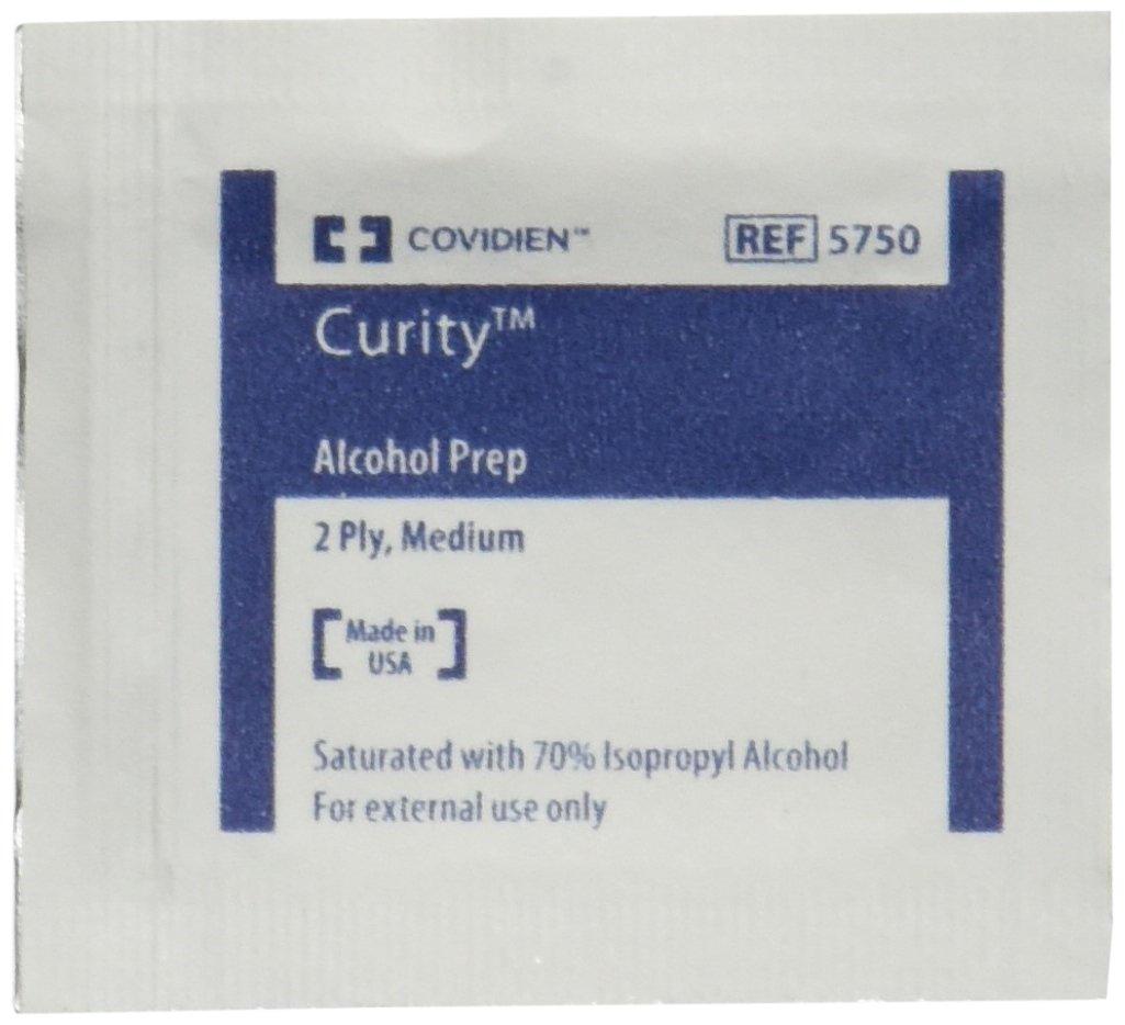 Covidien (5750) - Toallitas modelo «Curity» con alcohol , estériles, de 2 capas, tamaño medio (paquete de 200 unidades).: Amazon.es: Amazon.es