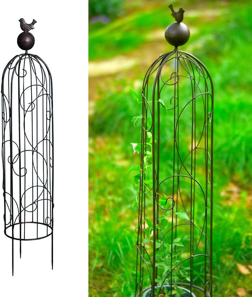 ZTCWS Garden Obelisk Trellis for Climbing Plants, Wrought Iron Metal Trellis, Flower Support for Climbing Vines Rose Plants, Outdoor Tall Tower