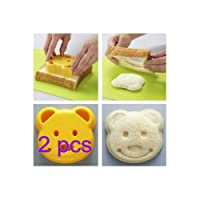 Leisial 2 pcs Sandwich Mould Children Lovely Cake Toast Mold Cute Little Bear Bread Rice Ball Pastry Cookie Baking Biscuit Cutter Maker Mould Cutter for DIY Craft Home Breakfast Kitchen Decorating Tools Party Dessert (Orange )