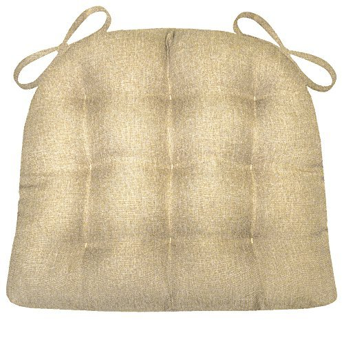 Barnett Products Dining Chair Pad with Ties - Hayden Beige Heathered Plain Weave - Size Standard - Reversible, Latex Foam Filled Cushion, Machine Washable (Almond, Tan)