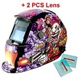 iMeshbean Pro Cool Solar Power Auto Darkening Welding Helmet with Grinding Function & 2 pcs Extra Lens Covers Arc Tig Mig Plasma ANSI Certified Welder #1004 USA