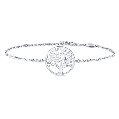753aa65a3243 AmorAime Womens 925 Sterling Silver Family Tree of Life Love Symbol Charm  Link Bracelet White Gold Plated Adjustable: Amazon.co.uk: Jewellery