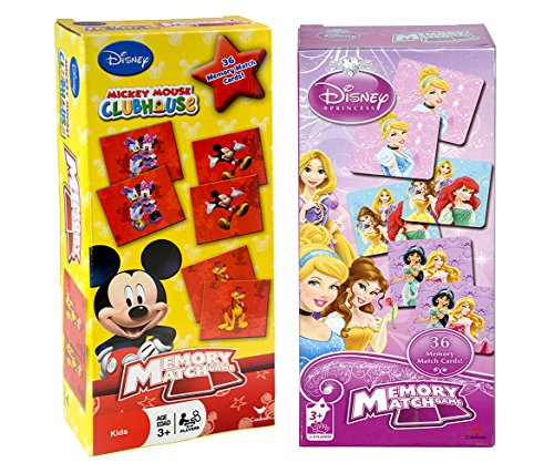 - Mozlly Disney Mickey Mouse Clubhouse & Disney Princess Memory Match Game No Reading Necessary Educational Toy Learning Journey 2 to 4 Players for Kids Toddlers Children Matching Puzzle Set 2 Count