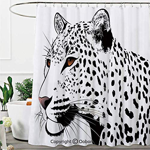 (Shower Curtains, The Head of Magnificent Rare White Tiger with Ocean Blue Eyes Image, Fabric Bathroom Decor Set with Hooks, 72 x 72 Inches)