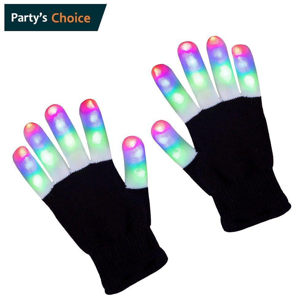 ZPTONE LED Gloves Finger Lights 3 Colors 6 Modes Flashing Rave Gloves Halloween Costume Party Favors Light Up Toys Novelty Christmas Gift
