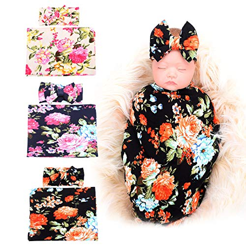 (3 Pack BQUBO Newborn Floral Receiving Blankets Newborn Baby Swaddling with Headbands or Hats Sleepsack Toddler Warm)