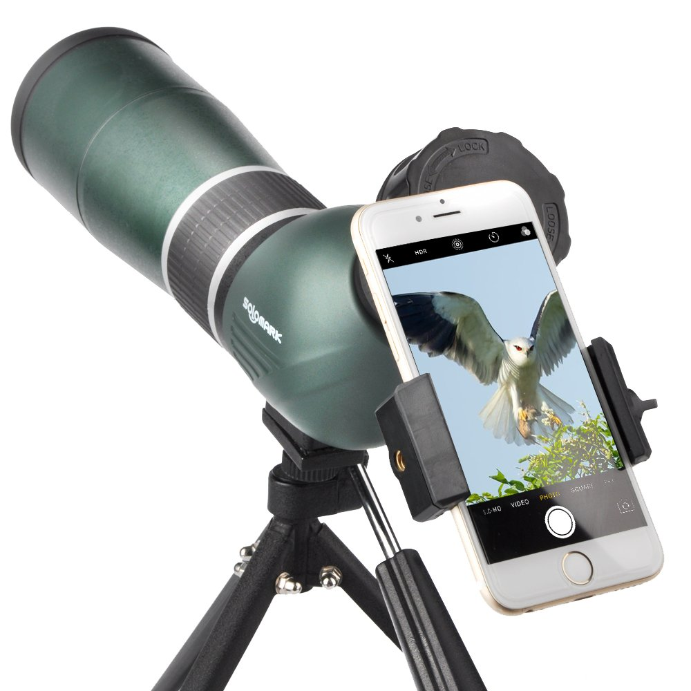 SOLOMARK 15-45x60 Waterproof Spotting Scope with Tripod and Digiscoping Adapter Army Green