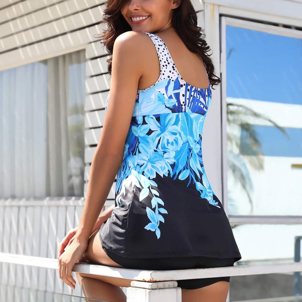 Hunzed Women【Printed Bikini】 Womens One Piece Skirt Swimsuit Flower Pattern Spots Swimdress Bathing Suit