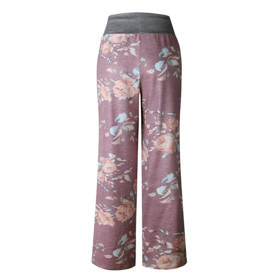 3e7f18fb69 GouuoHi Womens Pants Large Size Women Casual Summer Floral Print Loose Yoga  Wide Leg Pants Running Gym Stretch Fashion Leisure Cosy Super Quality for  Womens