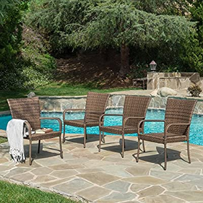 Chrystie Outdoor Mixed Mocha Wicker Stackable Club Chairs (Set of 4) -  - patio-furniture, patio-chairs, patio - 61Ahph%2BHKBL. SS400  -