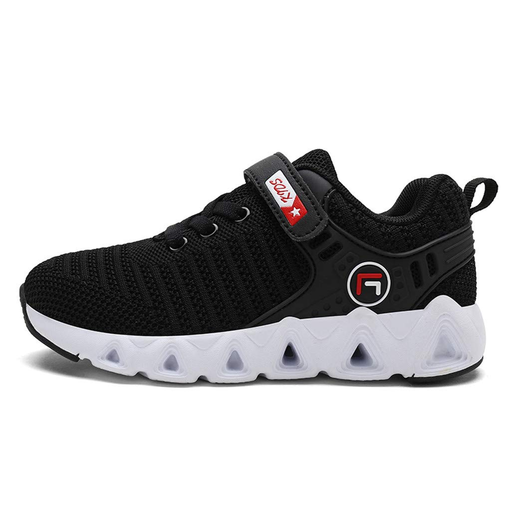 Respctful✿Boys Fashion Sneakers Casual Strap Breathable Running Shoe Lightweight Trail Athletic Sports Shoes Black