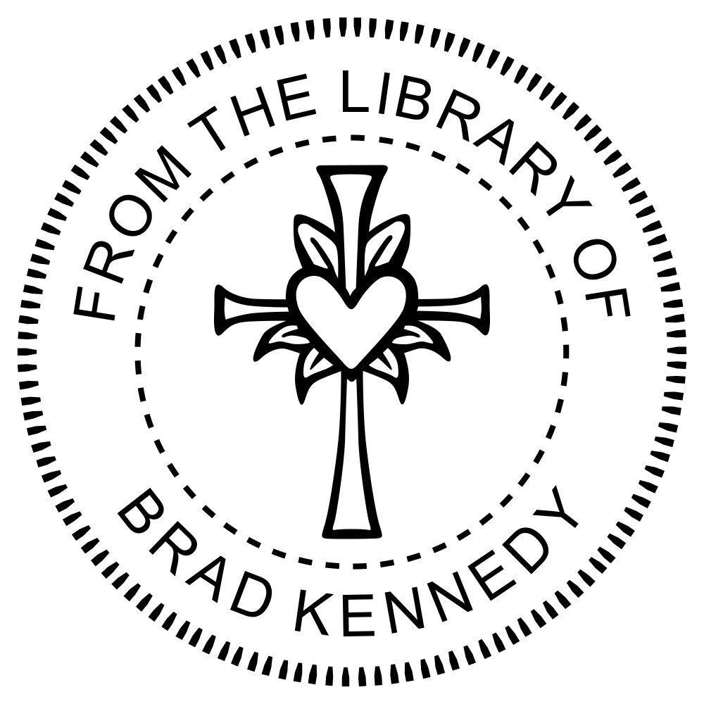 From the Library of Religious Cross, Lily & Heart Desk Embosser - Embosser Seal