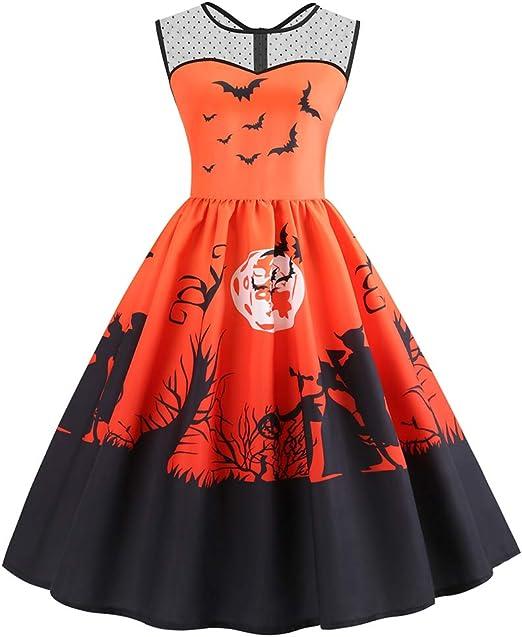 Vestido De Oscilación Para Mujer Disfraz De Halloween Sin Mangas ...