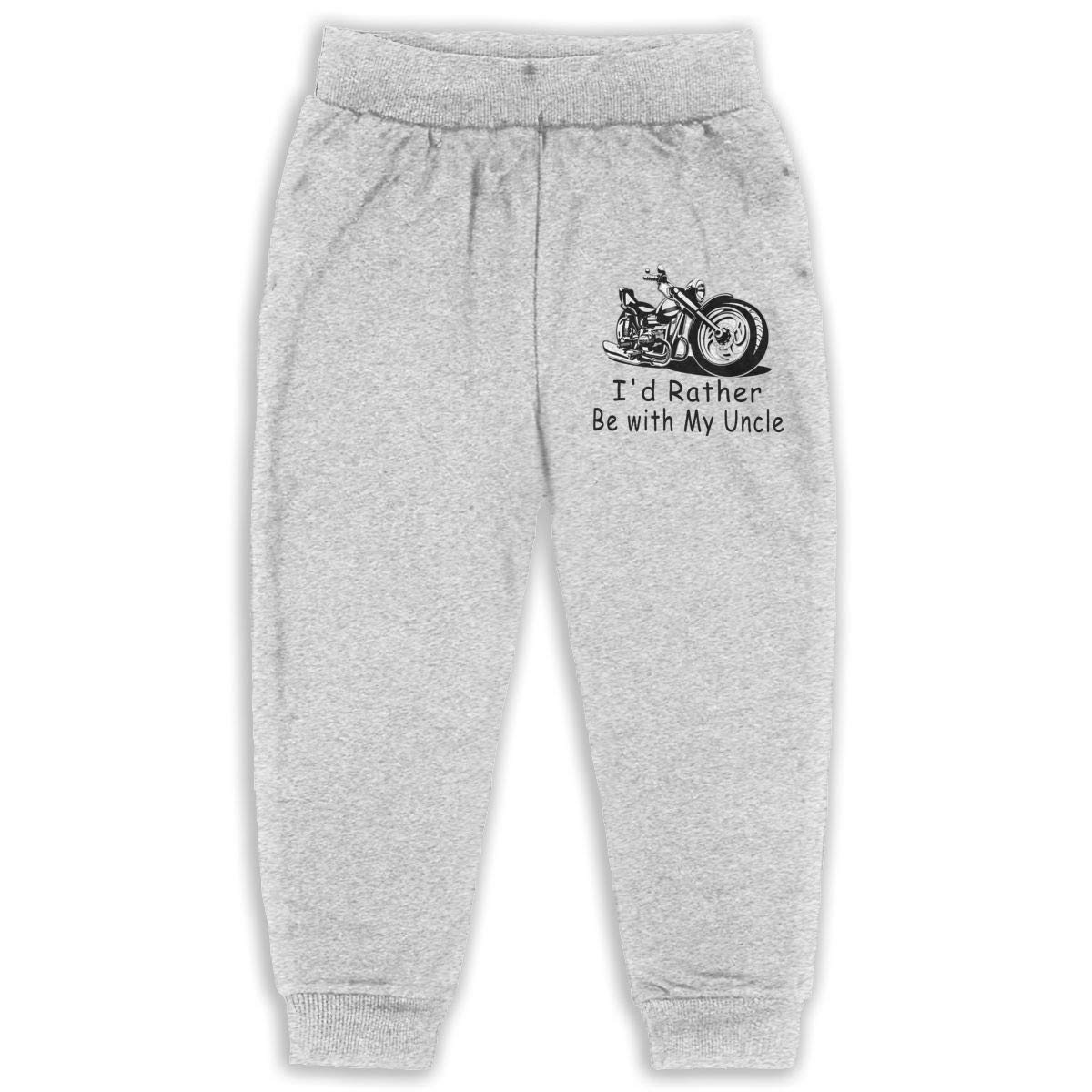 Roli-Land Unisex Girls Id Rather Be with My Uncle Fashion Daily Sweatpants Gray Gift with Pockets Pajamas