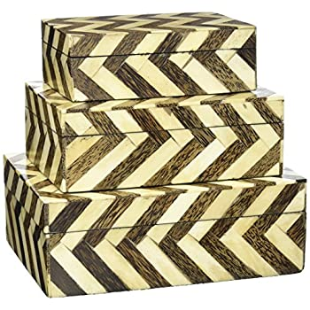 IMAX 19911-3 Zig Zag Bone Inlay Boxes, Set of 3