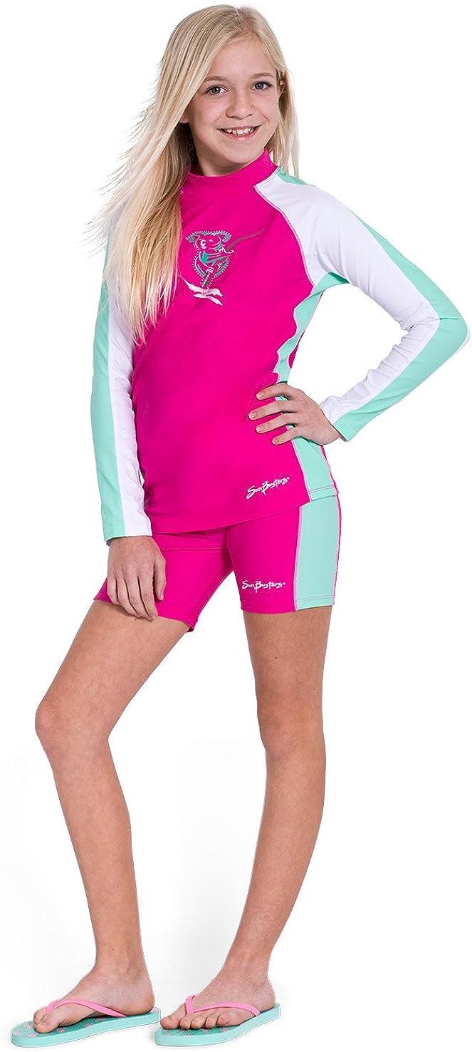 Sun Busters Girls Long Sleeve UV Swim Shirt Rashguard High UPF50+ Sun Protection Poppy, Mimosa, Maui Blue 2-12 Years