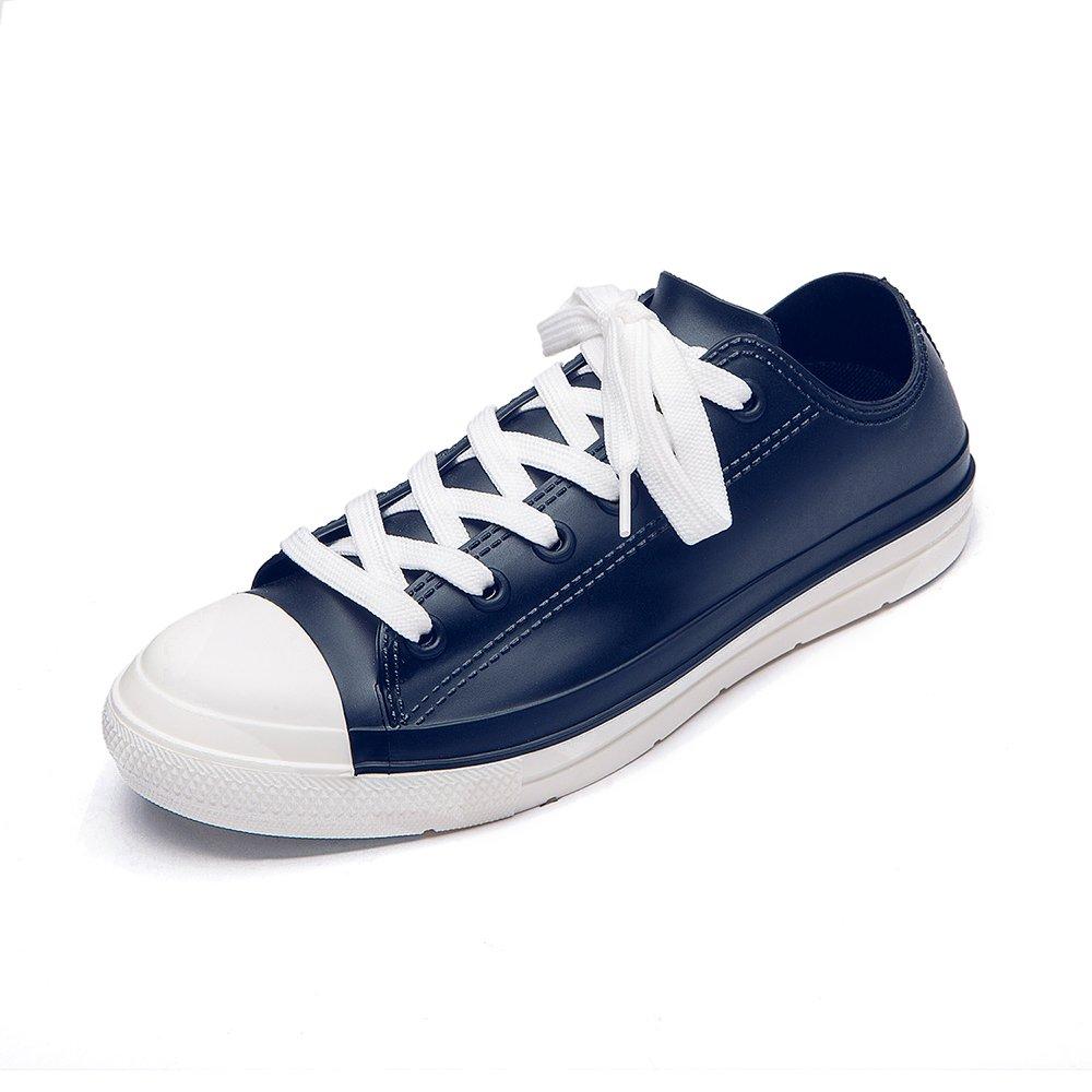 DKSUKO Rain Shoes Women Waterproof Girls Rubber Boots Lace up Anti-Slip Outdoor Garden Shoes Comfort Insole 9 Colors (6 B(M) US, Blue White)