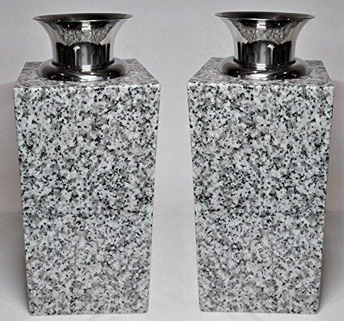 花立【お墓用】高級白みかげ石 ステンレス花筒付 2個(1対)セット L01 B076WPP5VC