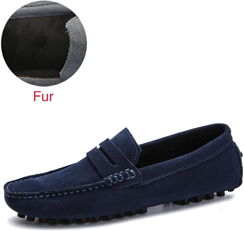 DEKABR Size 49 Men Casual Shoes Fashion Men Shoes Genuine Leather Men Loafers Moccasins Slip On Mens Flats Male Driving Shoes,02 Fur Dark Blue,8